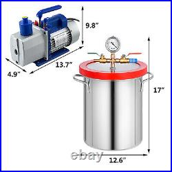5 Gallon Vacuum Chamber and 7CFM 2 Stage Pump Degassing Silicone Air AC Kit